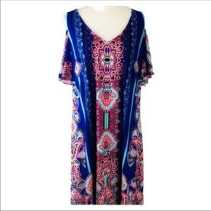 MSK Bohemian Style Cold Shoulder Shift  Dress XL